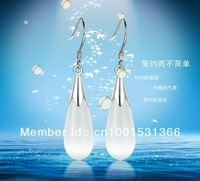 S925 sterling silver inlaid opal earrings Moonstone drop-shaped fashion quality wholesale