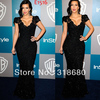 2012 Fashion Kim Kardashian V-neckline Cap Sleeve Full Beaded Shiny Black Celebrity Red Carpet Dress Lace