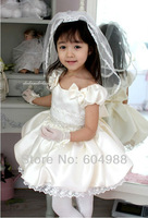 4pcs children girl princess lace dress beige color girl's dresses size 80 90 100 110