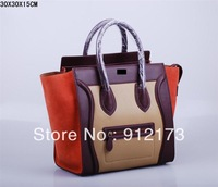 2013 fanours brand classic handbags,hit color Scrub Retro Leather big handbag Smiley bag multiple colors handbag , totes