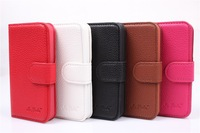 free shipping high quality wallet case for Iphone 4 leather case