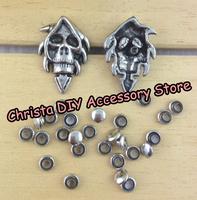 10sets/lot 20*30mm Fashional Skull Death Stud Punk Spikes Band DIY Rivet Leathercrafts Free Shipping