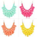 New Resin 3 Layers Faceted Tear Drop Bib Necklaces/Statement Necklaces/Candy Color Party Dress Necklace for Women Free Shipping