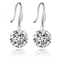 Free Shipping,earrings wholesale,8mm loose zircon earring, rhodium plating earring never fade.Platinum plated keep color.