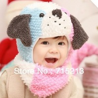 Free shipping 2014 Winter new cute cartoon puppy shape infant Infant Hat Scarf cool dog hat children Ear Hat Wool Cap + scarf