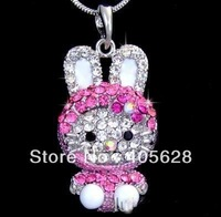 Fashion crystal Hello Kitty  pendant necklace, silver/gold color