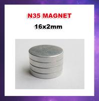 500pcs/lot  N35 D16X2mm columns Ndfeb strong magnetic magnet  Factory direct sale