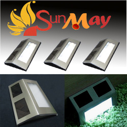Free shippin 4Pcs/lot Outdoor Solar 2 LED White Stairways Landscape Garden Path Wall Light Lamp solar garden light(China (Mainland))