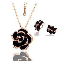 KS066/KS067 18K Platinum/Rose Gold Plated Jewelry SET Necklace/ STUD Earrings Czech crystal  FLOWER LEAF Valentine's