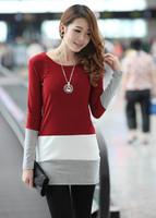 New Fashion Bottom Long Sleeve Cotton Dress for Women, Lady O-Neck Tops Blouse Stripe Causal Dress S~2XL