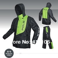 Free shipping/Motorcycle/ motorbike rain coats/combinations/POLE Micro fiber Water proof raincoats/AR801 green/red