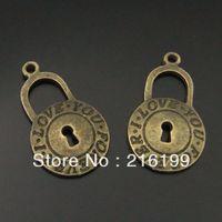 Antique style ancient lock charms pendants 40pcs 04263
