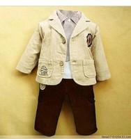2012 autumn winter boys 3 pcs set suit children's cotton coat+T-shirt+pants set  size 90 100 110 120 baby boy/kid Free shiping