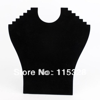 Free Shipping,Hight Quality Wholesale 2pcs New Black Velvet Necklace Easel Showcase Holder Jewelry Display Stand