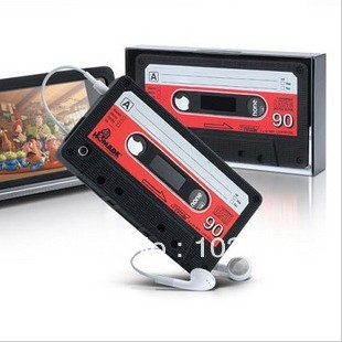 Free Shipping Protective Unique Cassette Soft Silicone Back Cover Case for iPhone 4/4S(China (Mainland))