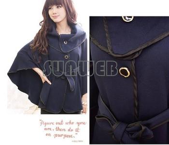 Korea Women's wool Coat outwear Cloak Coat with Waistband Dark Blue, Khaki Free shipping 9130