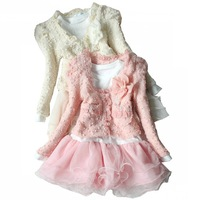 [CA] Free shipping new 2013 spring girl lace kid dress one-piece outerwear dress for girls hot selling girl clothes