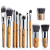 Free shiping top quality  soft synthetic hair bamboo handle makeup brush set wholesale