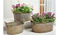 Free Shipping vintage garden flower pot SET,Rustic Style, iron flowerpot,1 set contains 3 pots, 2sets/lot