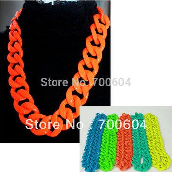 large size 70cm*3.5cm punk neon colorful vintage hiphop jazz chain costume Statement necklace, wholesale, LH166