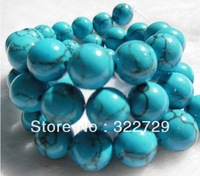 Free Shipping,DIY jewelry Accessories,Turquoise Bead material,10mm Blue Beads,Loose Semi-precious stones Beads 114 pcs/lot