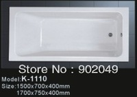 White Acrylic Cheap Bathtub K-1110 Rectangle 1 Person Hot Tub Manufacturer Factory Price
