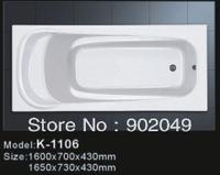 Common Rectangle White Bathtub K-1106 Cheap Freestanding Bath Tub Sanitary Manufacturer Bathroom Accessory