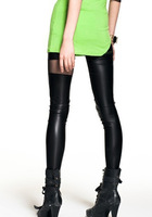Free shipping High quality Women's Black Leggings Faux Leather translucent rendering stripes