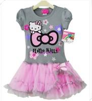 Free shipping Retail hello kitty dress girl dresses Baby dress Cartoon baby's clothing