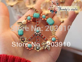 "Fashion Girl Women Party Big Round 2.1"" Peace Signe Flower colorful Rhinestone Necklace Jewelry"