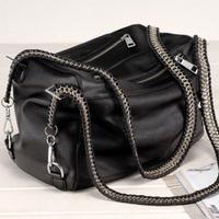 Women's handbag brief pull style double chain rivet black shoulder bag tote leather bag messenger bag