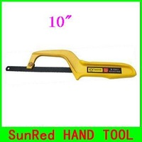 "SunRed BESTIR taiwan made yellow easy carry 10"" aluminium alloy hand mini hacksaw frame,NO.03411 freeshipping wholesale"