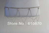 2012 Trendy Women Multilayer Tassel Crystal Silver Belly Chain Jewelry Waist Hip Belt Free shipping