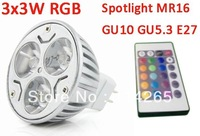 Efficiency>90% 3Watts MR16 GU5.3 E27 holder type RGB Remote Control Bulb 16 Color led spotlight DC12V/AC85V~245V hot sale