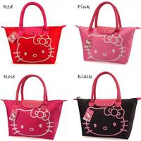 Hot sale handbag Hello kitty waterproof shopping bag Women's hand bags Retails high quality foldable supermarket bags