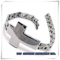 Men's Silver Tone 316l Stainless Steel Cross Bracelet Bangle,Free Shipping, B#04,Fashion