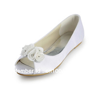 Aineny99L1346 Ivory Open Toe Flowers Flat  Satin Evening Party & Wedding Bridal Shoes