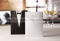 Free Shipping Groom & Bride Wedding Invitation Cards Set of 50 For Wedding Favors Gifts Party Accessory Decoration Supplies