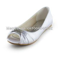 Aineny99  Ivory White Open Toe Rhinestone Flat Heel  Satin Custom Made Wedding Evening Party Shoes L1361