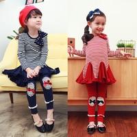 High quality!!Fashion 100% cotton  lovely  baby girl long sleeve Dress + leggings Set ,Children's for dresses