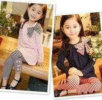 1Set New Soft cotton kids Dress clothing, baby girl long sleeve t-shirt + leggings Set Baby Girl Dress,