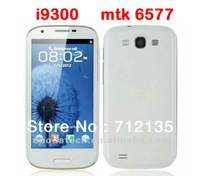 new i9300 mtk6577 android phone unlocked 854*480 Capacitance Screen s3 wcdma gsm support google play