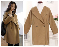 Free shipping Korean style women's sweet turn-down collar poncho all-match wool coat outerwear 2colors big size