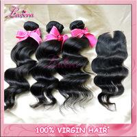 peruvian human hair lace closure with bundles queen hair products 6a peruvian virgin hair with closure