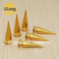 10*28mm Screwback Spikes Cone Studs Golden Nailheads leathercraft DIY Rivet Free Shipping 100pcs GZ027-28G+B5S