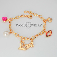 New 2013 Romantic Lip Love Flower Charm Bracelets For Women 18K Real Gold/Platinum Plated Chain Bracelets & Bangles Jewelry