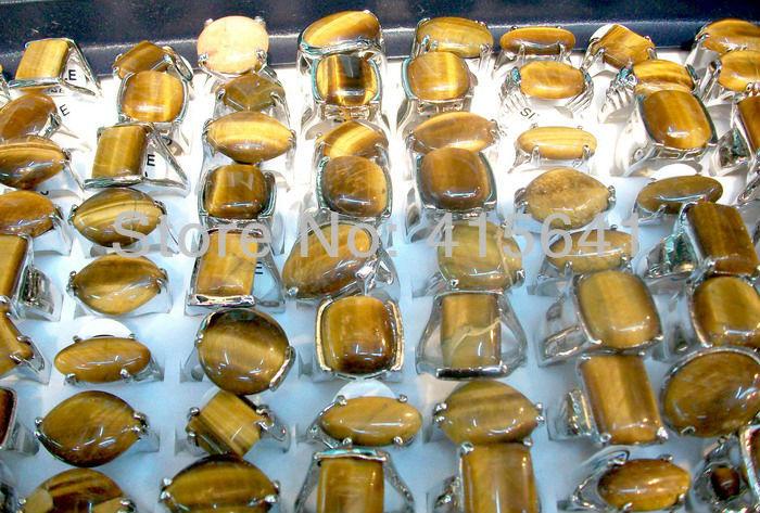 Lots Jewelry Wholesale Lots 30pcs nature tiger cat stone Charm Wonderful fashion rings(China (Mainland))