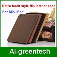 High quality Retro book style flip leather case for ipad mini  luxury stand leather case cover for mini iPad  Free Shipping
