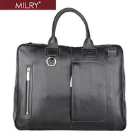 Free shipping MILRY 100% Genuine Leather men Briefcase business shoulder Messenger Bag for 14 inch laptop P0103-1/2
