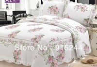 Dot Small Flower Bedspread cheap Quilting Bed Cover 3pcs set full size elegent Patchwork Quilts Mattress drop shipping textiles